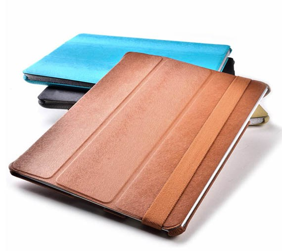 Textured Series Smart Cover with Elastic Hand band for The new iPad/iPad2