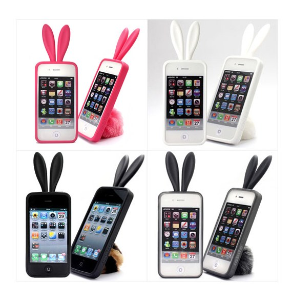 3D Fury Bunny Ear Silicon iPhone4s Case
