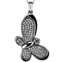Zirconia Micro-Setting Butterfly Shape Pendant with Necklace Set