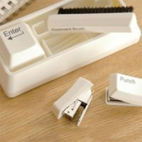 Keyboard Stationery Set- Stapler + Punch + Clip Dispenser + Keyboard Brush