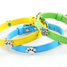 Footprints Leather Collar for Small to Medium Dogs