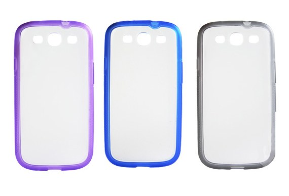 Transparent Hard Case Meshed with Soft Coloured Edges for Samsung Galaxy S3 i9300