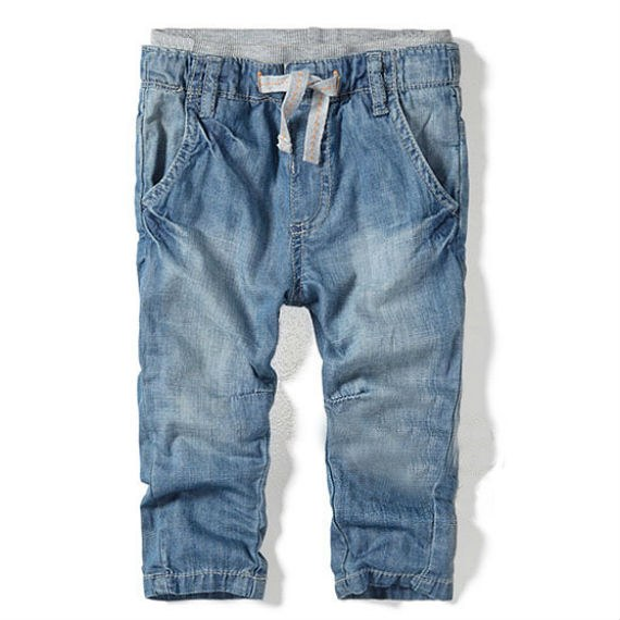 Elastic Double Waist Drop Crotch Kiddy Jeans