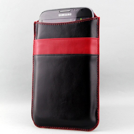 "Galaxy Note II 5.5"" Premium Leather Sleeve cum Card Pouch"