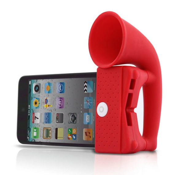 Soft Silicone Horn Stand Amplifier Speaker for iPhone 4/4S