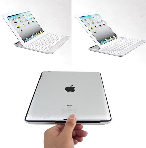 3-in-1 Wireless Bluetooth Keyboard, Aluminium Case, Stand for iPad2