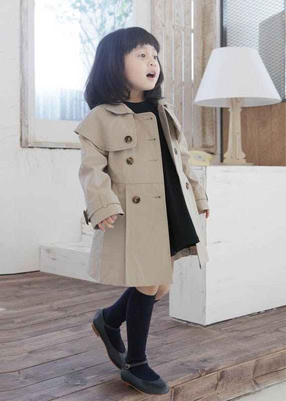 Korean Fashion Style Girls Double-breasted Khaki Jacket