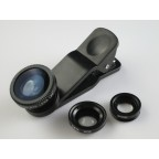 Black 3in1 Fisheye+Wide Angle+Macro Lens Kit for iPhone 6 6S Plus 5S