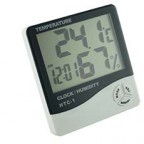 Indoor Thermometer Digital LCD Wireless Alarm Clock Temperature Humidity Meter