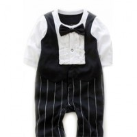 Smart Gentleman One Piece Pseudo-suit clothes for Kids with Bow Tie