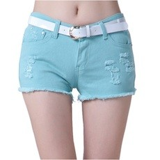 Colour Denim Shorts with Raw Edge Hem