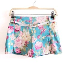 Floral Print Shorts with Scalloped Hem