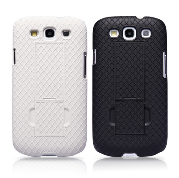 Diamond Textured Armour Shell with Folding Stand cum Finger Grip for Samsung Galaxy S3 i9300