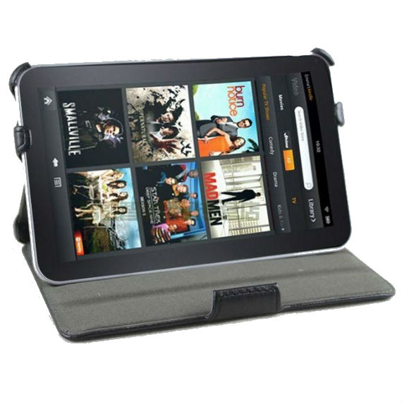 Black Leather Cover for Amazon Kindle Fire(will not fit HD or HDX models)