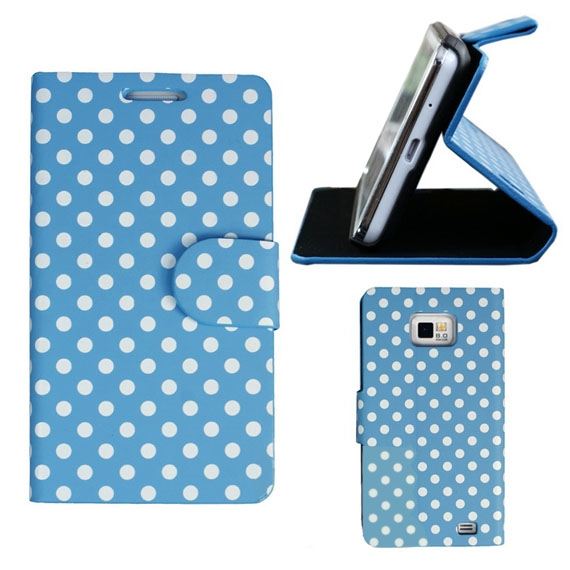 Samsung Galaxy S2 Polka Dot Folio Leather Case