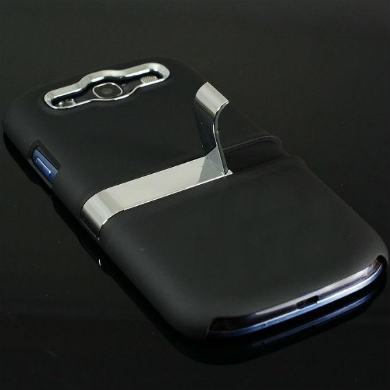 Samsung Galaxy S3 i9300 Ultra Thin Metallic Powder Coated Case with Kick Stand Holder