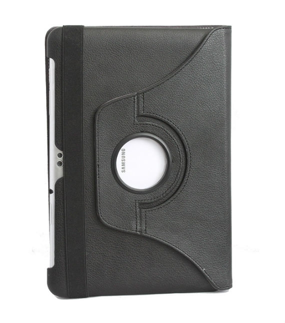 Samsung Galaxy Tab 2 (10.1) Posh Black Rotatable Leather Case