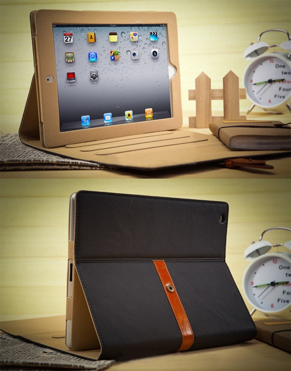 Stylish Leather Smart Cover Case for iPad2 / The new iPad