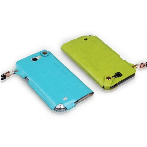Unique Leather Wrap-Around Samsung Note III Case With Ear-Phone Holder and Neckstrap