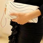 Wave Design Leather Clutch with Zipper