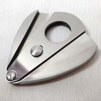 Smoking Tobacco Silver Color Stainless Steel Double Blades Cigar Cutter SM032