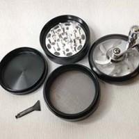 "New Black 4pc Hand Crank Tobacco Herb Spice Grinder Crusher 2.5"" Aluminum"