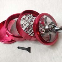 """New Red 4pc Hand Crank Tobacco Herb Spice Grinder Crusher 2.5"""" Aluminum"""