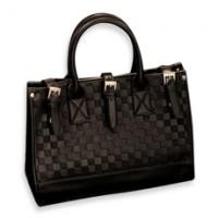 Black Checkered Pattern Tote / Shoulder Bag