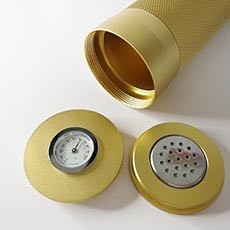 Gold Aluminium Travel Cigar Case Tube with Humidor Hygrometer Humidifier