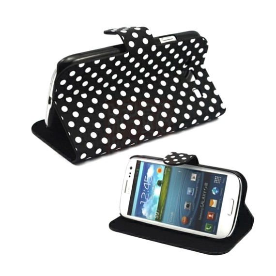 Samsung Galaxy S3 i9300 Polka Dot Man-Made Leather Flip Case