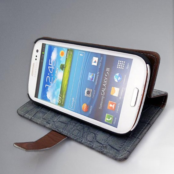 Elegant Crocodile Textured Leather Flip Case with Cards Slots For Samsung Galaxy S3 i9300