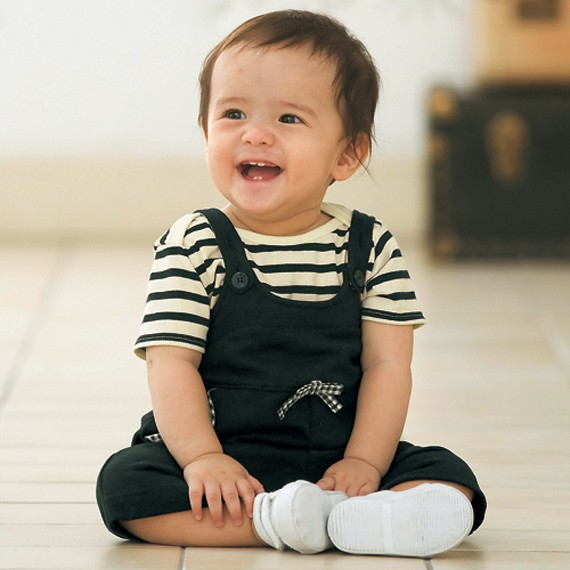 Black Stripe Romper and Black overall for Babies