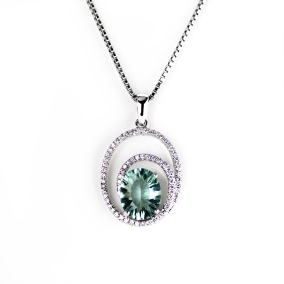 Turquoise Cubic Zirconia Pendant with Necklace Set on 925 Sterling Silver Coated with Platinum - Pre-order Item