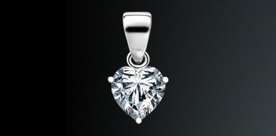 Cubic Zirconia Heart Shape Pendant on 925 Sterling Silver Coated with Platinum