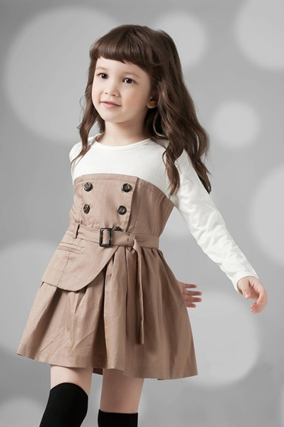 Khaki Skirt with Long Sleeve for Kids