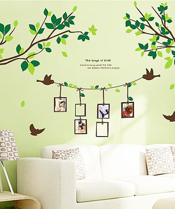 Decorative Living Room Wall Art Sticker Decals Birch Trees With Birds