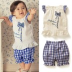 Babies Clothes and Shorts with Blue Check-print