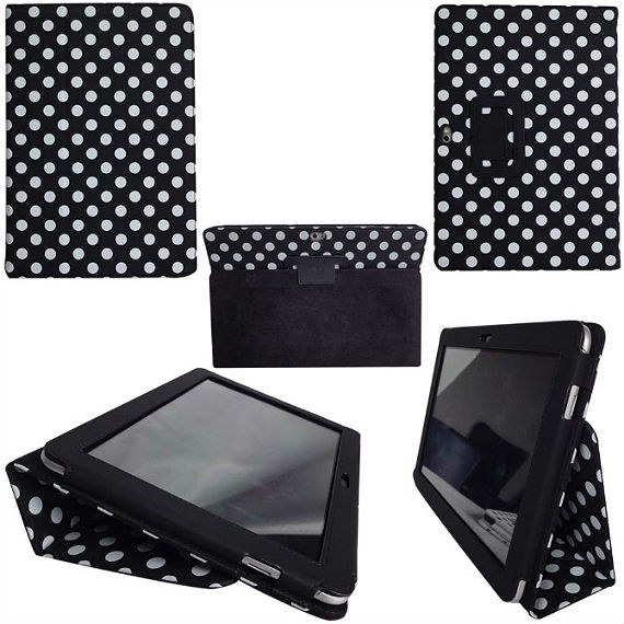 Samsung Galaxy Tab 2 (10.1) Polka Dot Leather Case Stand