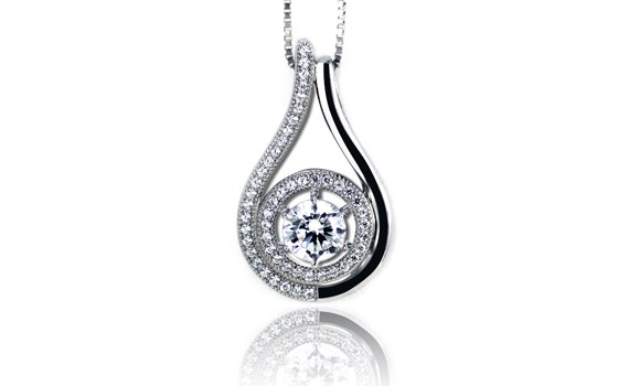 Cubic Zirconia Micro-Setting Pendant with Necklace Set on 925 Sterling Silver Coated