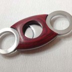 Brand New Smoking Tobacco Red Wood Stainless Steel Double Blades Cigar Cutter