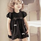 Black Short Sleeve One-Piece Dress with Bows for Baby Girls