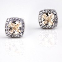Square Cubic Zirconia Earrings in champagne color, set on Pure 925 Silver Coated with Platinum, Nickel free