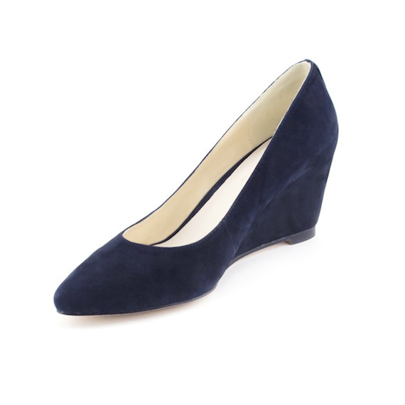 best deal for suede wedge pumps by andrya reis navy blue