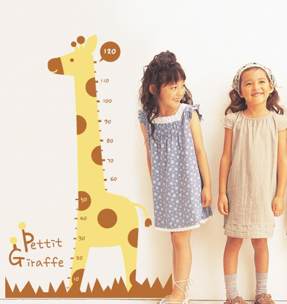 Giraffe Pattern Height Measurement Children Wall Sticker Decals