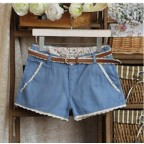Lace Trimmed Shorts with Belt