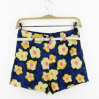 Yellow Water-coloured Wildflower High Rise Shorts with Belt