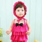 Ruffle Baby Girl One-piece Swimwear with Swimming Hat