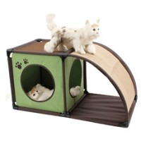 Easy-to-set-up Cat House with Scratching Mat