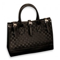 Black Checkered Pattern Tote / Shoulder Bag