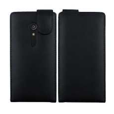 Black Calf Leather Flip Case for Sony Ericsson Xperia Ion LT28i